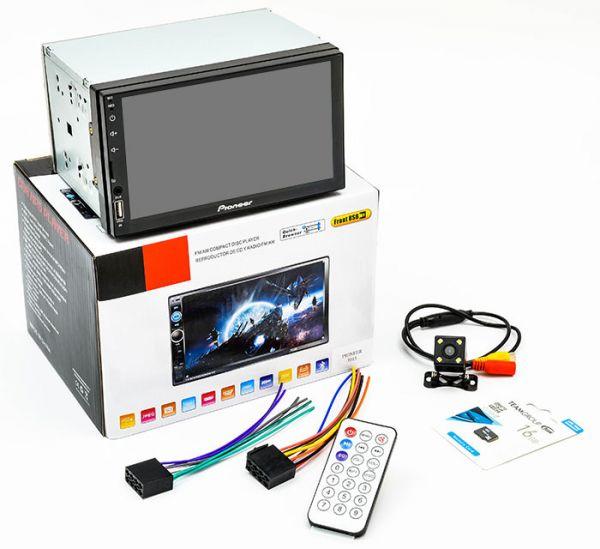 Автомагнітола 2 DIN MP5 Pioneer 7015 + AV + Камера заднього виду + Карта пам'яті 16GB