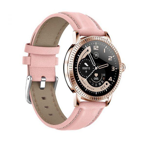 Умные смарт часы Lemfo CF18 Pro Leather с измерением давления и пульса