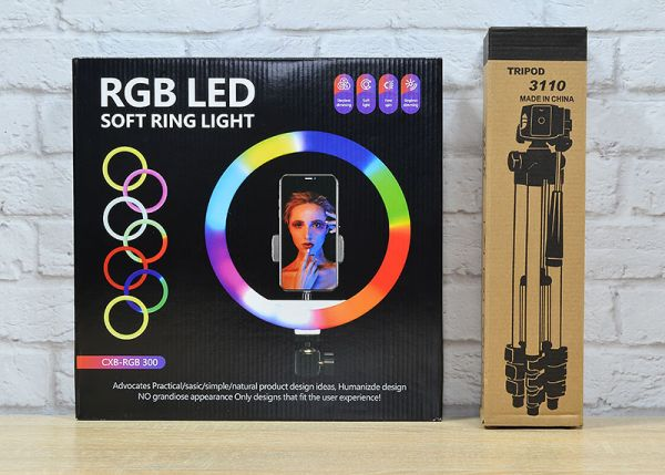 АКЦІЯ! Кільцева світлодіодна Селфі лампа 30 см SOFT RING LIGHT CXB-RGB 300 з кріпленням для телефону